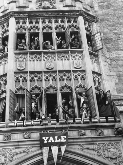 Vassar Girls Cheering Cyclists from Windows-Yale Joel-Photographic Print