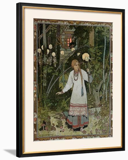"Vassilissa in the Forest, Illustration from the Russian Folk Tale, ""The Very Beautiful Vassilissa""-Ivan Bilibin-Framed Giclee Print"