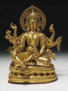 Vasudhara the Goddess of Wealth in Gilt Copper, 16th Century