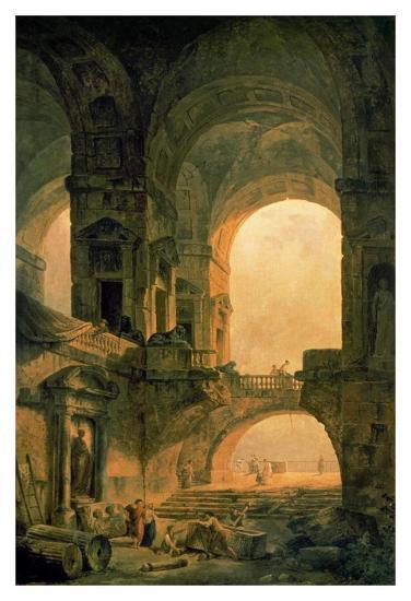 Vaulted Arches Ruin-Hubert Robert-Art Print