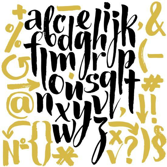 Vector Alphabet. Hand Drawn Letters. Letters of the Alphabet Written with a Brush.-veraholera-Art Print