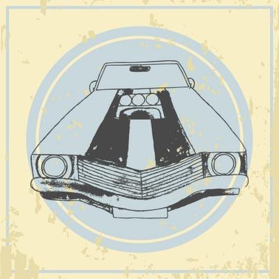 Vector American Muscle Car. Retro Car. Hand Drawn Car- RonAleksandra-Art Print