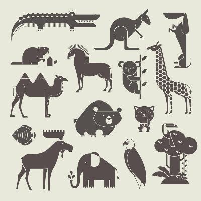 Vector Animals Set-vector pro-Art Print