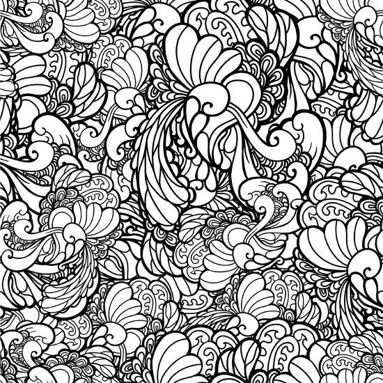 Vector Black And White Ornamental Floral Background Pattern For