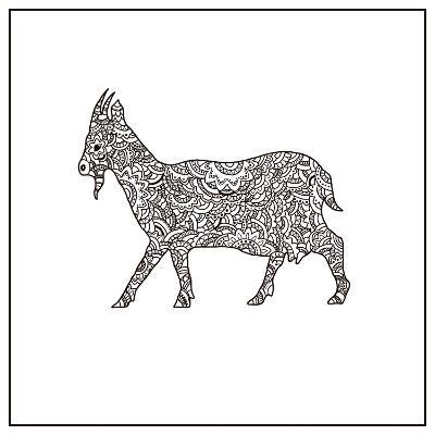 Vector Boho Goat for Coloring Book for Both Adult and Children, T - Shirt Graphic, Poster and Other-Shelest Yuliia-Art Print