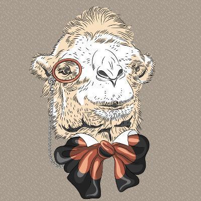 Vector Closeup Portrait of Funny Camel Hipster-kavalenkava volha-Art Print