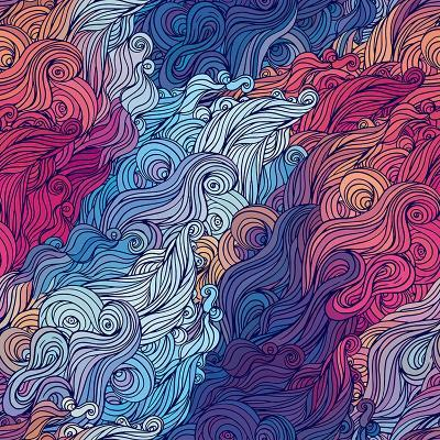 Vector Color Abstract Hand-Drawn Hair Pattern with Waves and Clouds. Asian Style.-Gorbash Varvara-Art Print