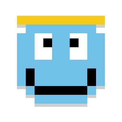 Vector Cute Cartoon Pixel Angel Face Isolated-Aratehortua-Art Print