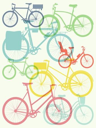 Vector Flat Modern Urban, Town and City Bicycles Background Featuring Touring Bicycle, Fixed Gear,-Mascha Tace-Art Print