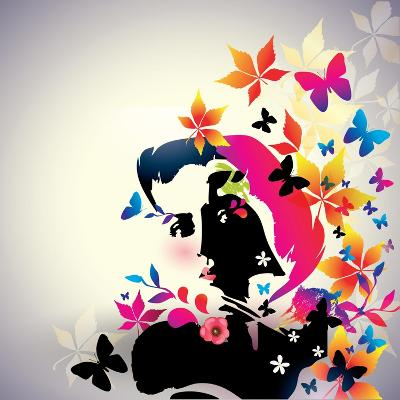 Vector Floral Girl- AlessandraM-Art Print