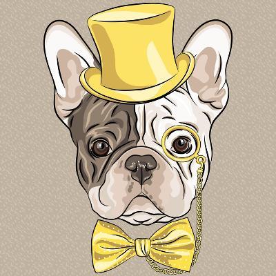 Vector Funny Cartoon Hipster French Bulldog Dog-kavalenkava volha-Art Print