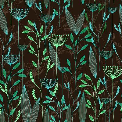 Vector Grass Seamless Pattern. Illustration with Herbs, Botanical Art- oxanaart-Art Print