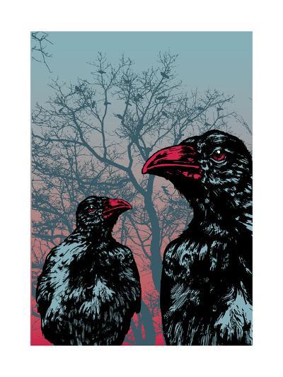 Vector Grunge Background Vith Ravens.-jumpingsack-Art Print