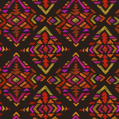 Vector Hand Drawn Ethnic Seamless Pattern with Tribal Abstract Elements. Colorful Endless Backgroun-Nadezhda Molkentin-Art Print