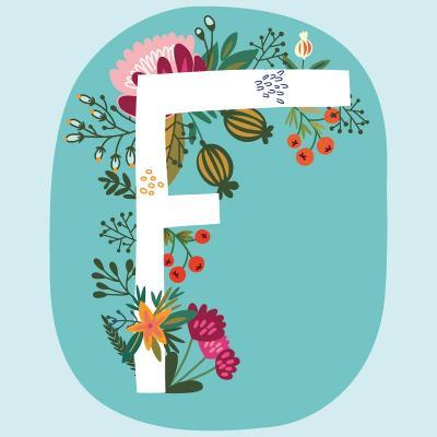 Vector Hand Drawn Floral Monogram with Vintage Amazing Flowers! Letters F Perfect for Backgrounds O-MarushaBelle-Art Print