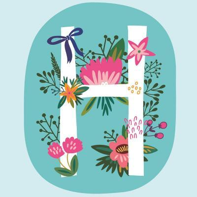 Vector Hand Drawn Floral Monogram with Vintage Amazing Flowers! Letters H Perfect for Backgrounds O-MarushaBelle-Art Print