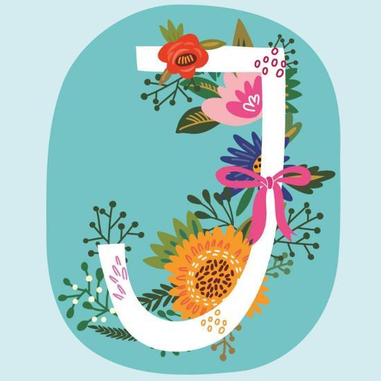 Vector Hand Drawn Floral Monogram with Vintage Amazing Flowers! Letters J Perfect for Backgrounds O-MarushaBelle-Art Print