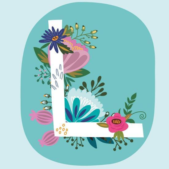 Vector Hand Drawn Floral Monogram with Vintage Amazing Flowers! Letters L Perfect for Backgrounds O-MarushaBelle-Art Print