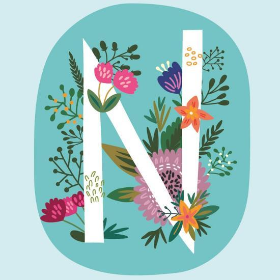 Vector Hand Drawn Floral Monogram with Vintage Amazing Flowers! Letters N Perfect for Backgrounds O-MarushaBelle-Art Print