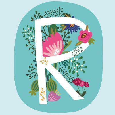 Vector Hand Drawn Floral Monogram with Vintage Amazing Flowers! Letters R Perfect for Backgrounds O-MarushaBelle-Art Print