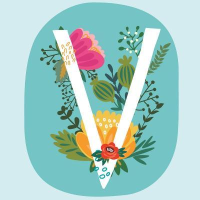 Vector Hand Drawn Floral Monogram with Vintage Amazing Flowers! Letters V Perfect for Backgrounds O-MarushaBelle-Art Print