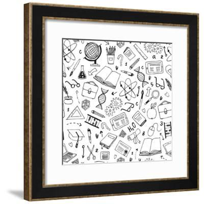 Vector Hand Drawn Seamless Pattern with Education Items-Nine Homes-Framed Premium Giclee Print
