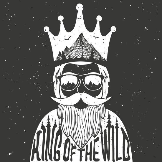 Vector Hand Drawn Style Typography Poster. A Man with Crown, Mountains and Trees Inside. King of Th- julymilks-Art Print