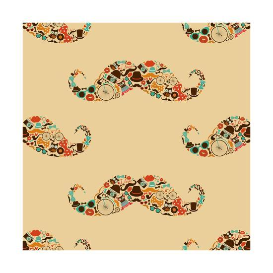 Vector Hipster Mustache Colorful Seamless Pattern Background-OliaFedorovsky-Art Print