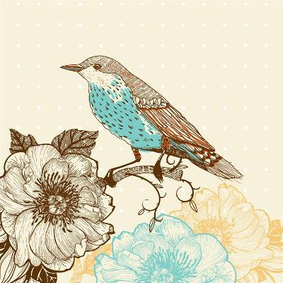 Vector Illustration of a Bird and Blooming Flowers in a Vintage Style-Anna Paff-Art Print