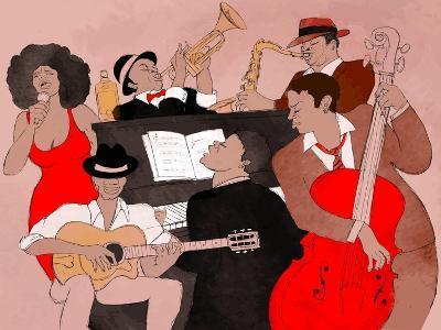 Vector Illustration of a Jazz Band-isaxar-Art Print