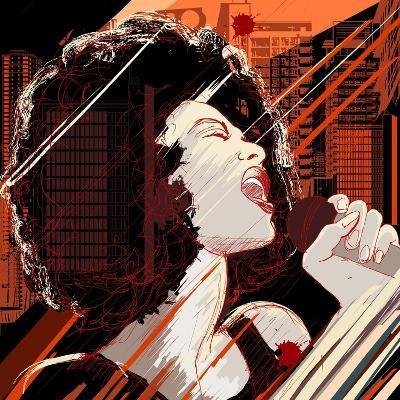 Vector Illustration of an Afro American Jazz Singer on Grunge Background-isaxar-Art Print