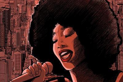 Vector Illustration of an Afro American Jazz Singer-isaxar-Art Print