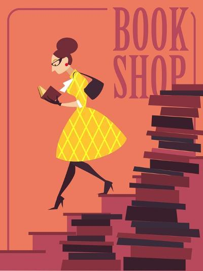 Vector illustration of bookstore, books shop, library. Retro poster design. Girl reading a book.-Porcelain White-Art Print