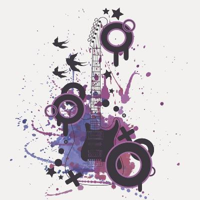 Vector Illustration of Electric Guitar with Watercolor Splash, Birds, Circles and Stars-Eireen Z-Art Print