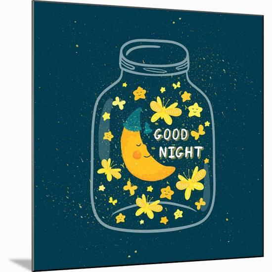 Vector Illustration of Jar with Sleepi?G Smiling Moon in the Nightcap, Butterflies, Stars. Cute Chi-Beskova Ekaterina-Mounted Art Print