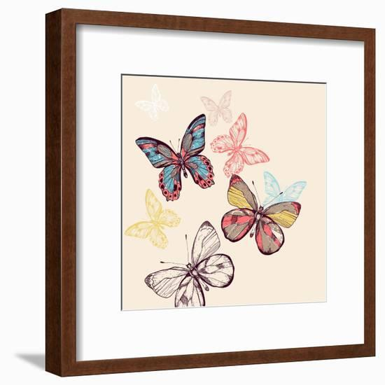 Vector Illustration of Multicolored Flying Butterflies-Anna Paff-Framed Art Print
