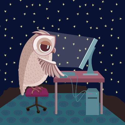 Vector Illustration. Owl Working on the Computer at Night- Satika-Art Print