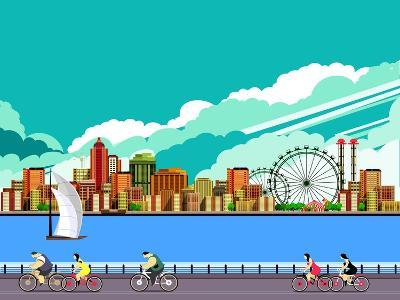 Vector Illustration Promenade Ride a Bike People on the Water Sailing a Sailboat in the Distance a-marrishuanna-Art Print