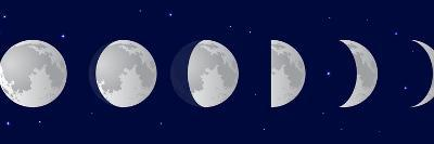 Vector Illustration Set. Phases of the Moon or Lunar Phase in the Night Sky with Stars. Different S-Iv-design-Art Print