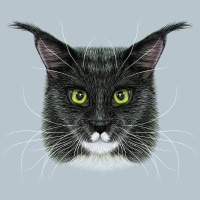 Vector Illustrative Portrait of Maine Coon. Cute Bi-Colour Domestic Cat with Green Eyes.-ant_art19-Art Print