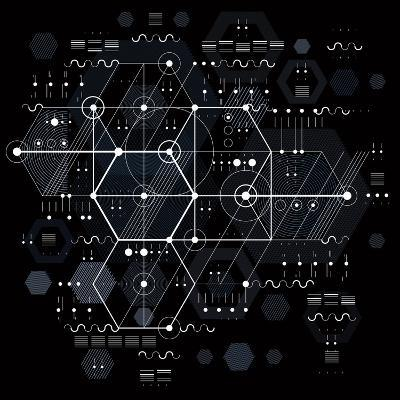 Vector Industrial and Engineering Background, Future Technical Plan. Perspective Blueprint of Mecha-Sylverarts Vectors-Art Print