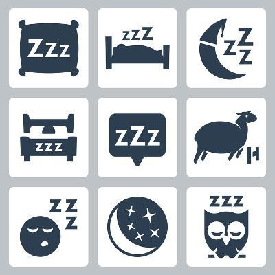 Vector Isolated Sleep Concept Icons Set: Pillow, Bed, Moon, Sheep, Owl, Zzz-GreyJ-Art Print
