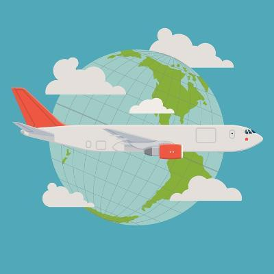 Vector Modern Delivery Web Icon on Flying Transport Freight Cargo Jet Airliner Plane, Flat Design,-Mascha Tace-Art Print
