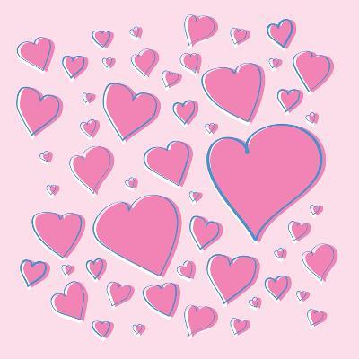 Vector Pink Hearts-skoo-Art Print