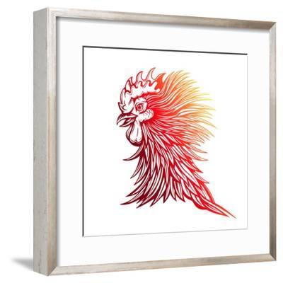 Vector Red Rooster Head Illustration-Julia Waller-Framed Premium Giclee Print