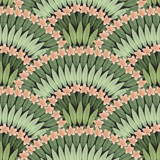 Vector Seamless Pattern of Hand Drawn Tropical Pink Flowers and Green Leaves on a Black Background-L Kramer-Art Print