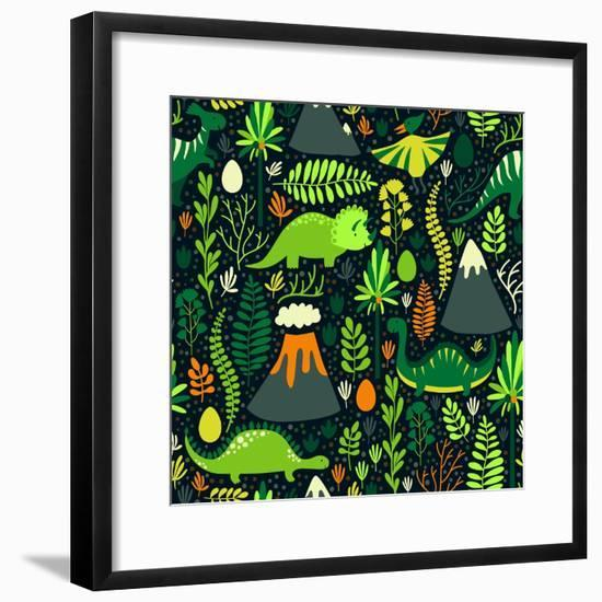 Vector Seamless Pattern with Different Dinosaurs, Floral Elements and Mountains. Cute Hand Drawing-Beskova Ekaterina-Framed Premium Giclee Print