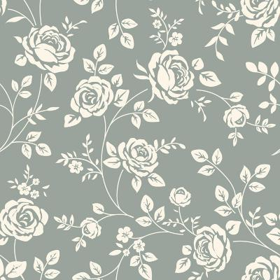 Vector Seamless Pattern with Flowers. Vintage Background with Blooming Roses. Floral Wallpaper. Whi- Gizele-Art Print