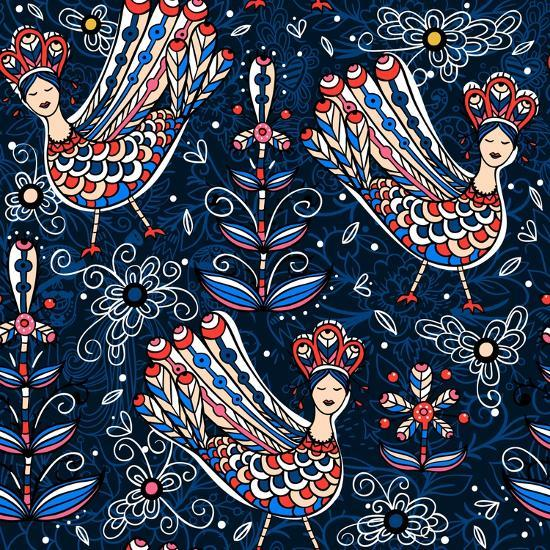 Vector Seamless Pattern with Folk Birds and Flowers-Anna Paff-Art Print