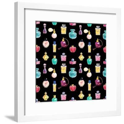 Vector Seamless Perfume Pattern. Abstract Elegant Cosmetic Background- Nina_Susik-Framed Premium Giclee Print